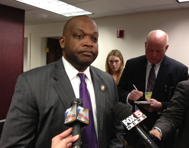 Majority Leader William Horne answers questions in this file photo about Assemblyman Steven Brooks. Horne has submitted a bill draft request that would create a tax on firearms and ammunition.