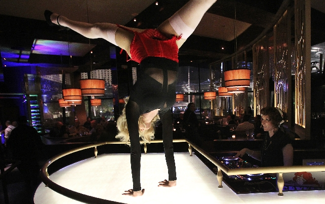 A dancer/contortionist performs at SHe in Crystals at CityCenter.