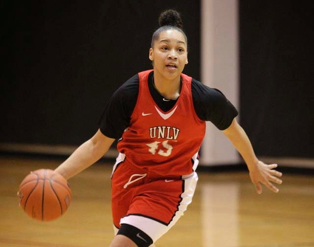 UNLV guard Kelli Thompson, shown Wednesday at practice, has averaged 18.7 points and 6.1 rebounds this season. Thompson, a four-year starter from Compton, Calif., plays her final regular-season ho ...