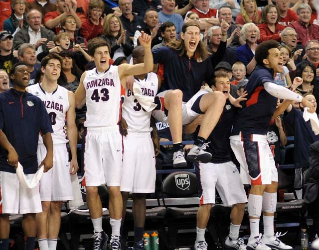 Gonzaga's bench, from left, Gary Bell Jr., Mike Hart, Drew Barham (43), Sam Dower, Kelly Olynyk, Keving Pangos and Elias Harris celebrate during their NCAA college basketball game against Po ...