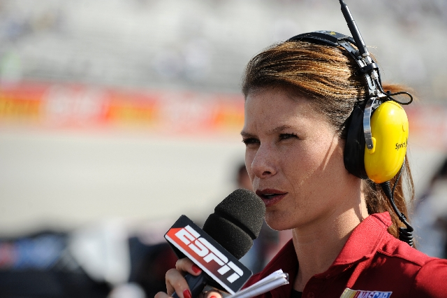 Jamie Little works pit road for ESPN during qualifying for the NASCAR Sprint Cup Series race on Sept. 25, 2009, at Dover International Speedway in Dover, Del.