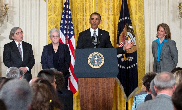 President Barack Obama announces Monday at the White House that he will nominate, from left, MIT physics professor Ernest Moniz for Energy secretary, Gina McCarthy to head the Environmental Protec ...