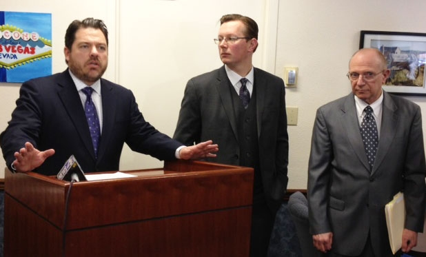 Nevada state Sens. Michael Roberson, left, Ben Kieckhefer and Joe Hardy called on their Democratic colleagues Tuesday to work with them to craft legislation outlining mining tax reform.