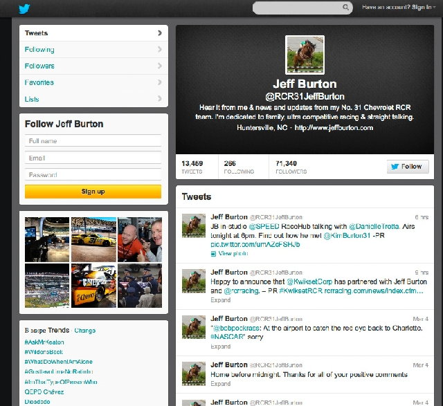 Jeff Burton, who drives the No. 31 car for the Chevrolet RCR team, uses his @RCR31JeffBurton handle to tweet on race activity.