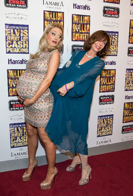 Rita Rudner, right, hams it up with a very pregnant Holly Madison at the Million Dollar Quartet's opening night Feb. 19 at Harrah's. Madison gave birth to a girl Tuesday.