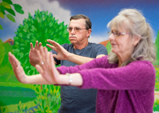 Hugh Isenbletter takes a tai chi/Ki Gong class at Atria Sunlake, a senior living facility at 3250 S. Fort Apache Road, March 5. The free class is held at 10 a.m. Tuesdays and is open to the genera ...