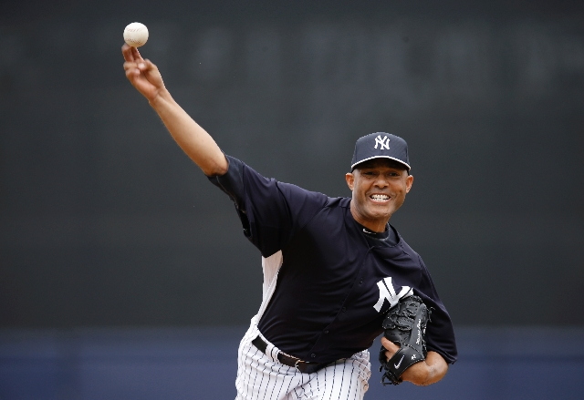 Yankees closer Mariano Rivera makes his spring debut Saturday in the fifth inning of New York's 2-1 loss to the Braves in Tampa, Fla. He retired all three batters he faced — Dan Uggla  ...