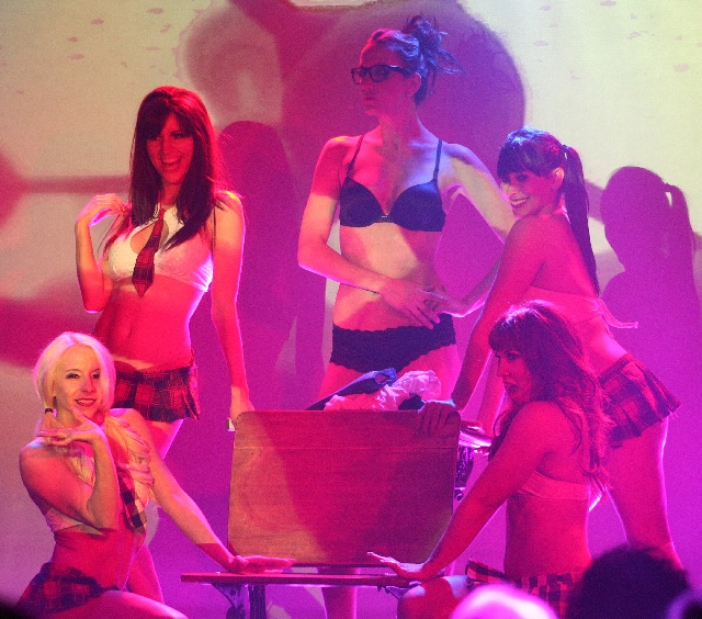 """The girls of """"Raack N Roll"""" perform in the showroom at The D on Fremont Street."""