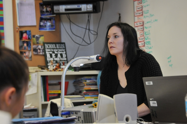Elizabeth Pesco teaches a writing lesson March 6 at Staton Elementary School, 1700 Sageberry Drive. Pesco received a LifeChanger of the Year Award from National Life Group for her dedication to tu ...