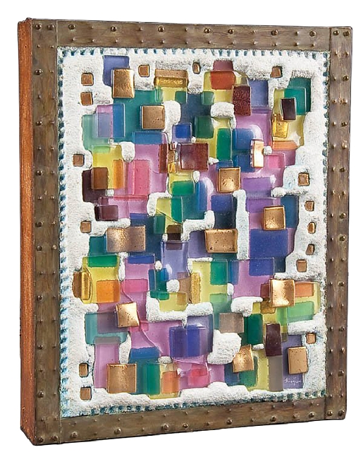 """This fused-glass sculpture is a multicolored mosaic embedded in concrete and framed in brass. It's marked """"Higgins."""" It sold for $210 a few years ago at Jackson's Auctionee ..."""