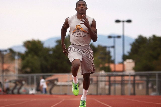 Bonanza junior Jayveon Taylor, shown March 7 during practice, is a two-time state champion in the 100-meter dash and last was beaten in any race in 2011, when he was third at the state meet in the ...
