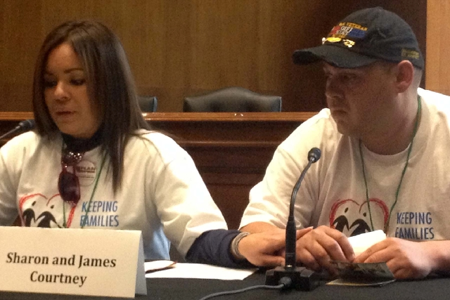 Sharon and James Courtney testify at an immigration rally on Capitol Hill on Wednesday. The Las Vegas couple said they live in fear of Sharon being deported as an undocumented immigrant even thoug ...