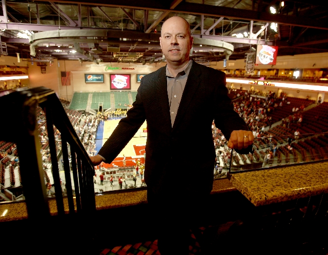 Darren Davis, director of the Orleans Arena, oversees operations during the Western Athletic Conference men's basketball tournament. The 9,000-seat arena also is the home of the Las Vegas Wr ...