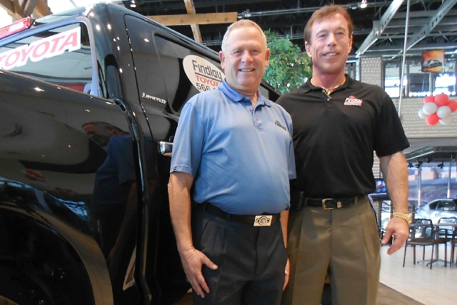 Findlay Toyota's 2012 Salesman of the Year Amos Maly, left, is pictured with dealership General Manager Rich Abajian.