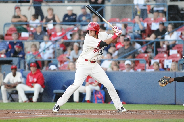 Rangers prospect Joey Gallo bats in a game last season with Class-A Spokane. The Bishop Gorman product hit .272 with 22 homers and 52 RBIs in 59 games in his first pro season.