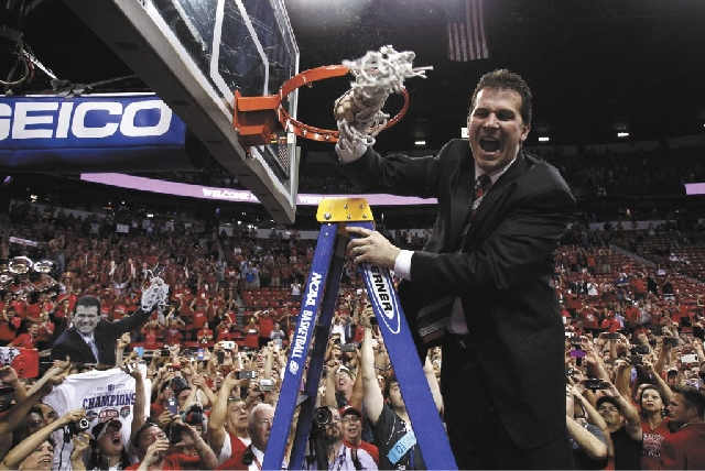 New Mexico head coach Steve Alford celebrates after defeating UNLV in the Mountain West Championship game at the Thomas & Mack Center in Las Vegas Saturday.