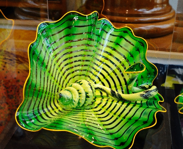 """""""Celtic Emerald Persian Pair"""" is among glass sculptures by artist Dale Chihuly in the Chihuly Gallery at Bellagio."""