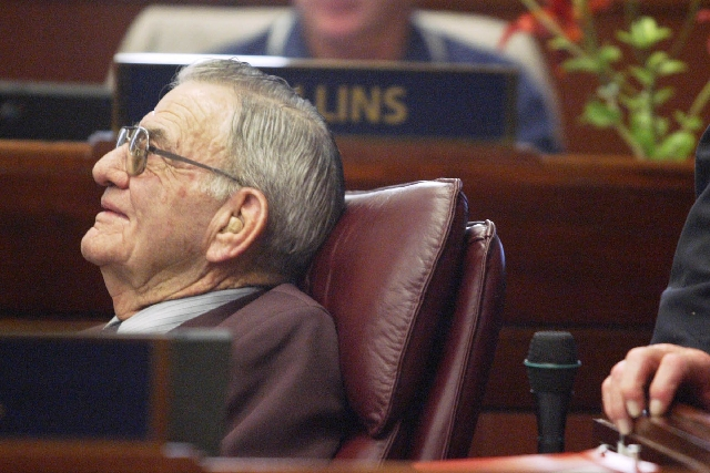Nevada Assemblyman John W. Marvel, a Republican from Battle Mountain, talks during a break in the Assembly in July, 2003.