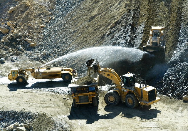 Heavy equipment is used at the Molycorp mine at Mountain Pass, on the border of Nevada and California.