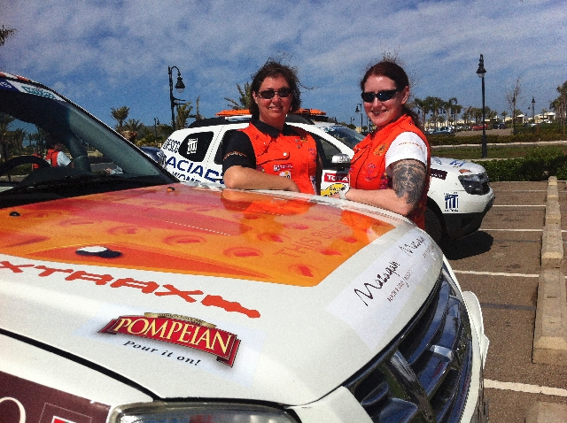 Julie Meddows, left, and Claire Barone began the Rallye Aicha des Gazelles, or the Gazelles Rally, on March 16. They expect to end March 30 with competition on nine of those days.