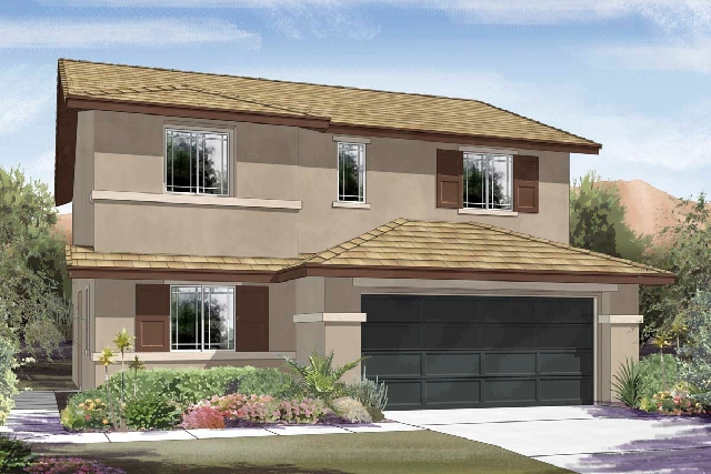 An artist's rendering depicts Ryland Homes' Jackson model at its new Monticello neighborhood in Providence, a master-planned community in northwestern Las Vegas. Four floor plans are a ...