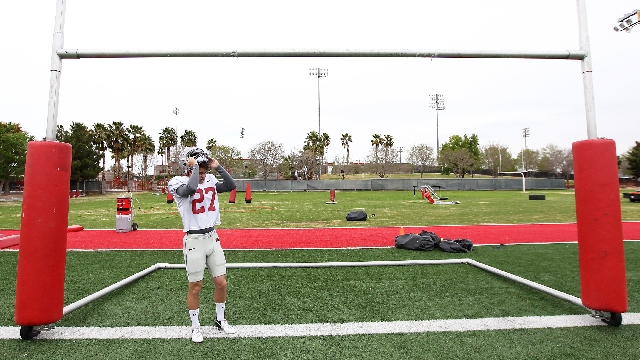 UNLV kicker Nolan Kohorst gets ready for practice Wednesday. He is UNLV's only returning first-team All-Mountain West selection.