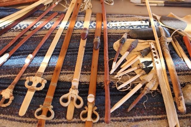 Various atlatls and dart points are on display during demonstration day Friday for the 22nd annual World Atlatl Contest and Endurance Challenge at Valley of Fire State Park.