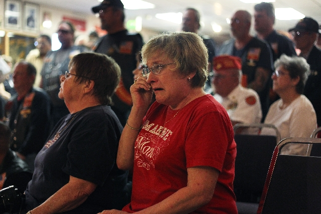 """Marine Mom"" Robin Jones weeps during the ceremony Friday as members of the Las Vegas Leatherneck Club honor the Marines who were killed in a mortar accident on Monday."