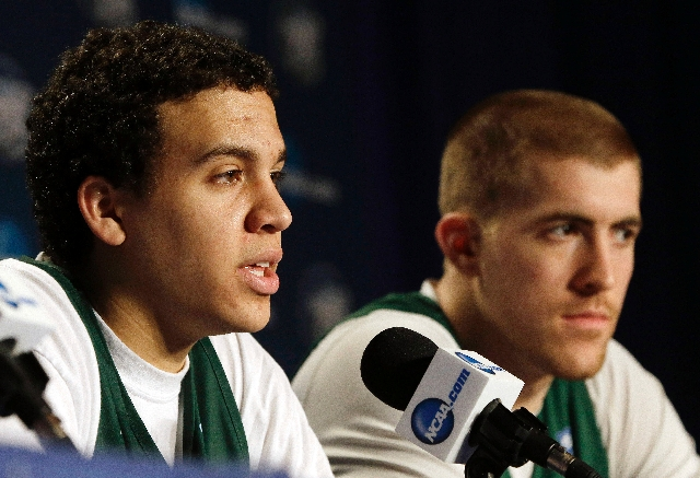 Colorado State guard Dorian Green, left, and forward Pierce Hornung will lead the Rams against No. 1 overall seed Louisville today in the third round of the NCAA Tournament.