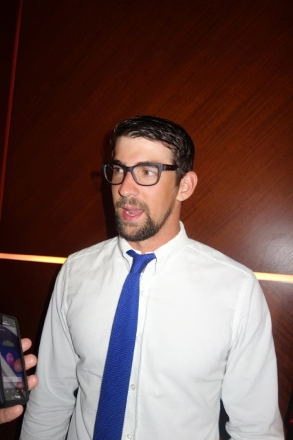 Michael Phelps sports a new look Friday.
