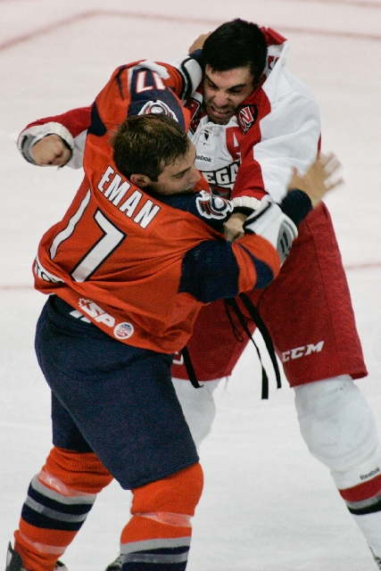 Wranglers left wing Adam Huxley trades punches with Ontario right wing Jason Beeman on Oct. 4 at Orleans Arena. Huxley, who has had at least 200 penalty minutes in six of nine ECHL seasons, said f ...