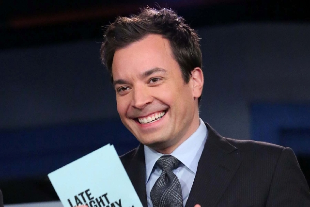 """Jimmy Fallon, host of """"Late Night with Jimmy Fallon,"""" is seen on the set in New York. Speculation is swirling the network is taking steps to replace the host with Jimmy Fallon next yea ..."""