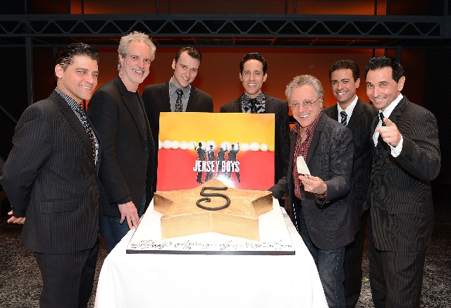 "Frankie Valli and Bob Gaudio of the Four Seasons helped celebrate the fifth anniversary of ""Jersey Boys,"" now at Paris Las Vegas."