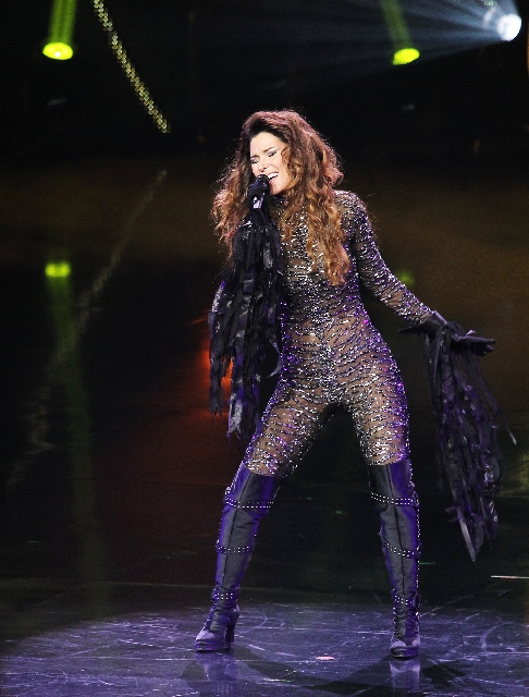 Shania Twain performs during the opening night of her new show at The Colosseum in Caesars Palace.