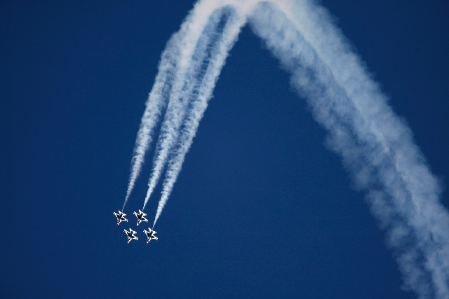 The Thunderbirds fly in formation during the Aviation Nation air show at Nellis Air Force Base in Las Vegas on Nov. 11. The 2013 show has been canceled, and officials have blamed budget cuts under ...