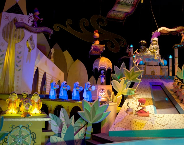 """This Jan. 23, 2009, file photo shows the characters Aladdin, Jasmine and Abu from the film, """"Aladdin,"""" on the """"It's A Small World"""" ride, at Disneyland in Anaheim, Cal ..."""
