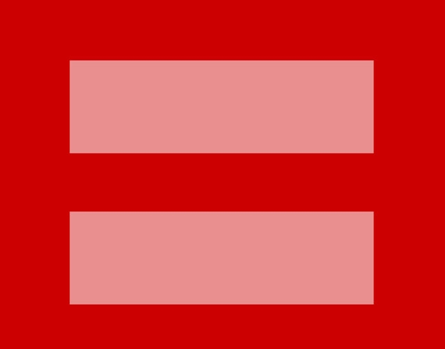 This image released by the Human Rights Campaign shows a redesign of their logo. A square box with thick pink horizontal lines (the mathematical equal symbol) was offered for sharing this week by  ...
