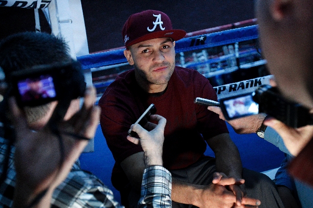 Junior welterweight Mike Alvarado, shown at Top Rank Gym in Las Vegas, said he'll set traps for champion Brandon Rios in their WBO title rematch Saturday night at Mandalay Bay.