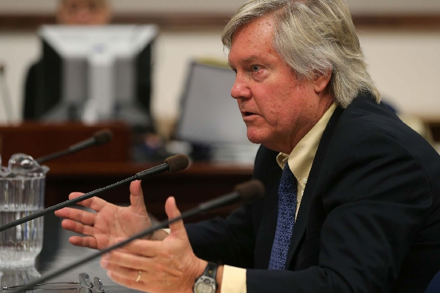 Sen. Tick Segerblom, D-Las Vegas, testifies Friday in Carson City on his bill that would permit businesses or individuals to open for-profit medical marijuana dispensaries.