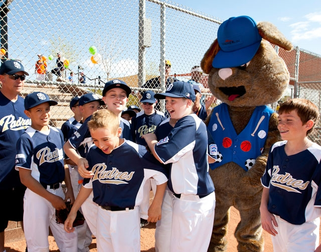 The Summerlin South Little League opening day included an extra celebration for the Majors Padres team after player Erik Till, center, won the Roadrunner Skills Challenge.