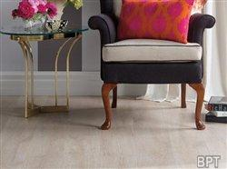 Whitewashed floors complement lively decorating trends