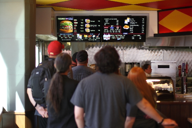 Customers line up to order at Fatburger, located at 3763 Las Vegas Boulevard, is shown on Nov. 6. 2012.
