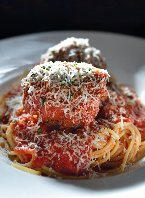 Spaghetti with meatballs is shown at Grotto Ristorante in the Golden Nugget.