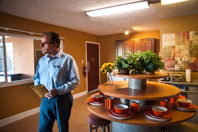 Arnold Stalk, seen at Veterans Village, has a doctorate in architecture and an affinity for living spaces. He retired from his job with the city of Las Vegas a few years ago and decided to make ho ...