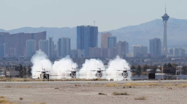 Four U.S. Air Force Thunderbirds take off from Nellis Air Force Base on Feb. 27. Base officials say they are on track to conduct July's Red Flag exercises, but the Pentagon is expected to pu ...