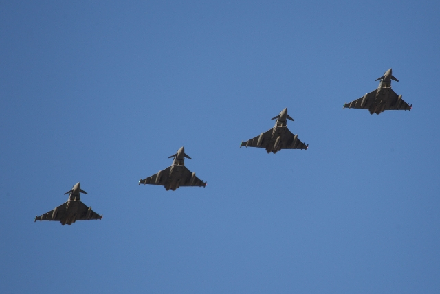 Royal Air Force Typhoons pass over the flight line before landing Feb. 27 at Nellis Air Force Base as part of Red Flag exercises.