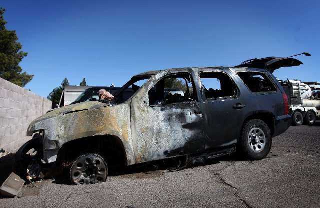 This Henderson Police Department SUV was destroyed by fire Feb. 27 after a tire blew out.
