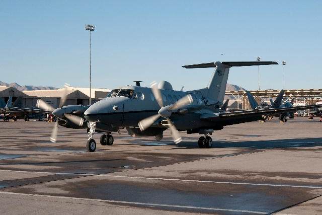 An MC-12 Liberty reconnaissance plane  arrives Feb. 28 at Nellis Air Force Base for a Red Flag air combat training exercise, which ran through mid-March.