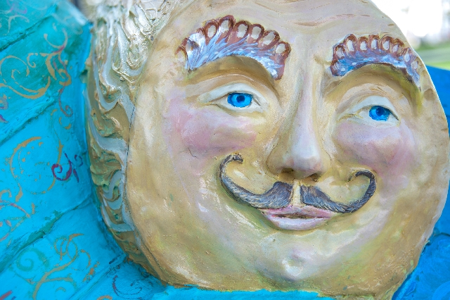 Top, Laszlo Kristof's piece at Symphony Park across from The Smith Center includes a number of cheerful characters.