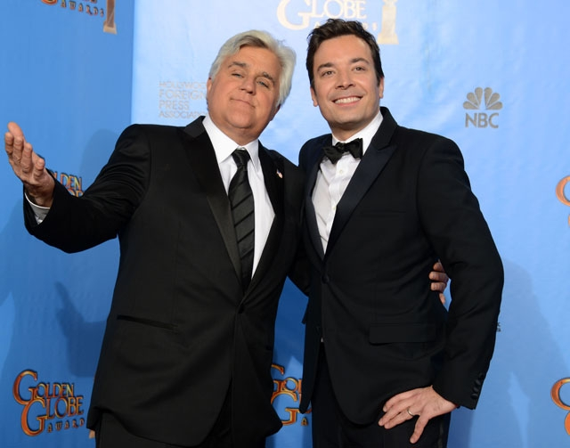 """Jay Leno, left, announced Wednesday that he will be leaving NBC's """"Tonight Show"""" next spring, and will be replaced by Jimmy Fallon."""